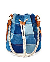 Denim Duffle Bag with Rope Cord