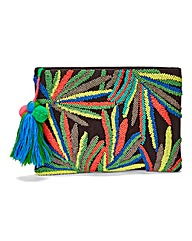 Embroidered Palm Clutch