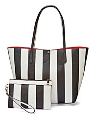 Striped Shopper with Purse