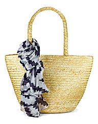 Straw Beach Bag with Scarf