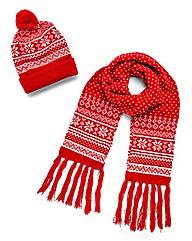 Fairisle Hat and Scarf Set