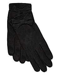 Pieces Black Suede Gloves with Bow