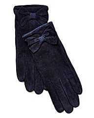 Pieces Navy Suede Gloves with Bow