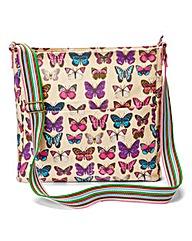 Butterfly Print Canvas Across Body Bag