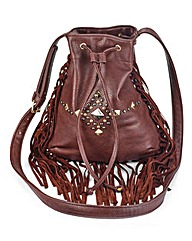 Fringing Shoulder Bag with Studs