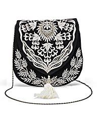 Embroidered Satchel Bag