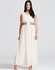 Little Mistress Nude Drape Maxi Dress
