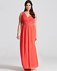 Little Mistress Coral Lace Maxi Dress