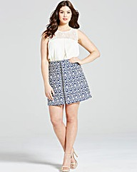 Girls On Film Navy Aztec Zip Front Skirt