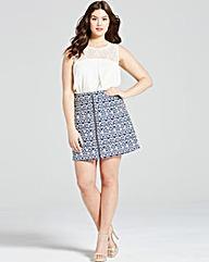 Girls On Film Navy Aztec Zip Front Skirt