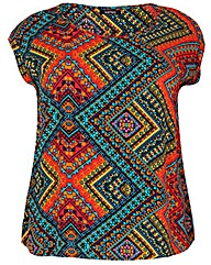 Samya Plus Size Aztec Print Top