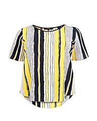 Koko Stripe Print PU Trim Tunic