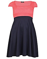 Feverfish Lace Contrast Skater Dress