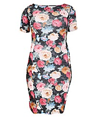 Feverfish Flower Print Bodycon Dress