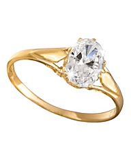 9 Carat Gold Oval Cubic Zirconia Ring