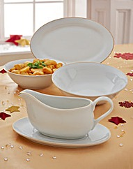 5 Piece Gold Rim Serving Set