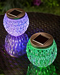 Set of Two Multicolour Solar Glass Jars