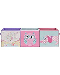Owl Canvas Storage Boxes - 3 Pack