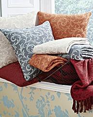 Cotton Acanthus Design Throw 2 Pack