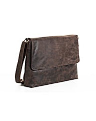 Woodland Leather Flap Messenger Bag