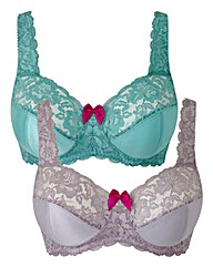 2Pack Full Cup Non Wired Jade Silver Bra