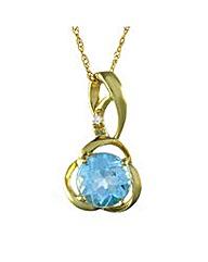 9ct Gold Blue Topaz and Diamond Pendant