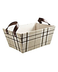 Fabric Tapered Basket Faux Leather