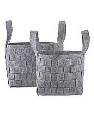 Set of 2 Felt Woven Basket