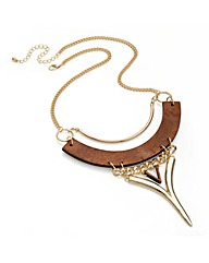Shiny Gold Colour Wood Design Necklace