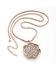 Rose Gold Colour Crystal Chain Necklace