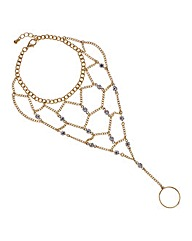 Mood Gold diamante crystal hand chain