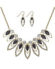 Mood Gold crystal navette jewellery set