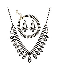 Mood Black diamante jewellery set