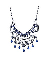 Mood Blue teardrop bib necklace