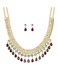 Mood Red crystal droplet jewellery set