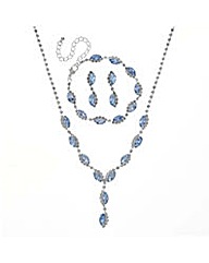 Mood Blue navette jewellery set