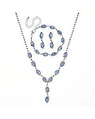 Mood Blue navette jewellery set