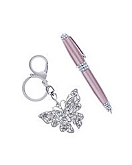 Mood Pen and butterfly keyring set