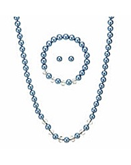 Mood Blue pearl necklace jewellery set