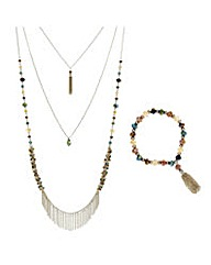 Mood Multi beaded fringed jewellery set