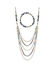 Mood Bead chain multi row jewellery set