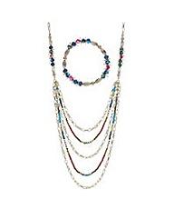 Mood Bead chain multi row jewellery set