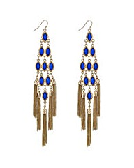 Mood Blue tassel drop chandelier earring