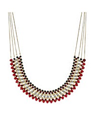 Mood beaded crystal multi row necklace