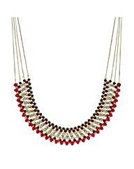 Mood beaded crystal multi row necklace