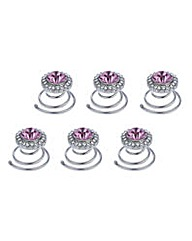 Mood set of six crystal hair twistees