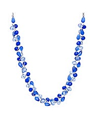 Mood blue bead twist necklace