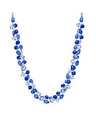Mood blue bead twist necklace