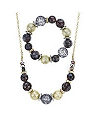 Mood ball necklace and bracelet set