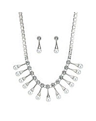 Mood Pearl fan necklace and earring set